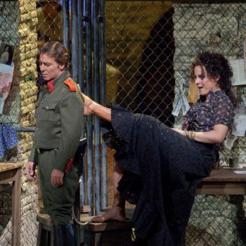 "Roberto Alagna as Don José and Elina Garanca in the title role of Bizet's ""Carmen.""  Photo: Ken Howard/Metropolitan Opera  Taken at the Metropolitan Opera during the dress rehearsal on December 28, 2009."